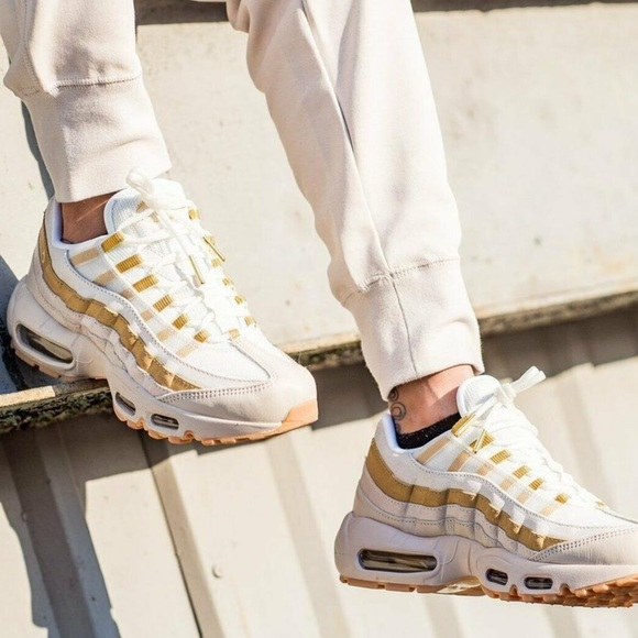 White and gold Air Max 95 | Style Inspiration | Shoes